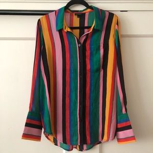 Who What Wear long sleeved multi color button down